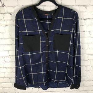 Dex Plaid Blouse Semi-Sheer Black Blue Size Large